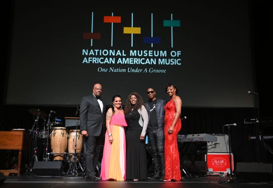 H. Beecher Hicks III, Chrissy Walter, Gloria Gaynor, Doug E. Fresh and Dionne Lucas attend The Celebration of Legends Gala 2019 at Music City Center on June 27, 2019 in Nashville, Tennessee. (Photo by Jason Kempin/Getty Images for the National museum of African American Music)