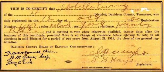 Isabella Ewing was a former slave who received her voter registration card after the passage of the 19th Amendment in 1920.