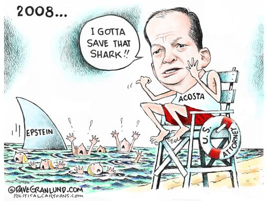 Acosta as lifeguard to save Epstein as shark.
