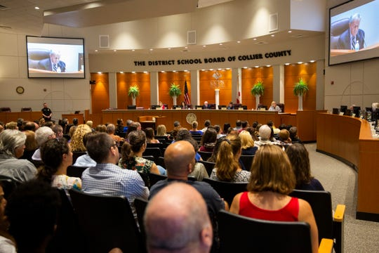 General Counsel Jon Fishbane makes opening remarks during a special School Board meeting at the Collier County School District office in Naples on Thursday, July 11, 2019.