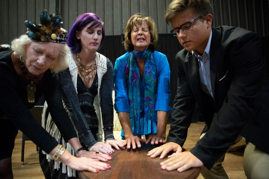 Actors Carole Fenstermacher, from left, Jeanie Dulaney, Cindy Hile and Lucas Bueno rehearse a scene from 'I Hate Hamlet', Wednesday, July 10, 2019, at the Center for the Performing Arts Bonita Springs.