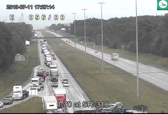 The Ohio Highway Patrol has shut down I-70 near the Ohio 310 interchange for multiple reported crashes.