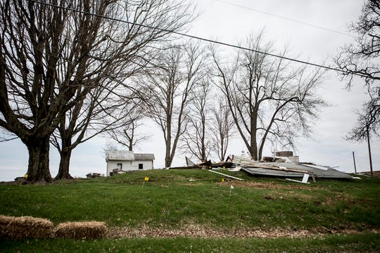 A barn on Harrison Road in Jersey Township has been torn down in preparation for commercial development.