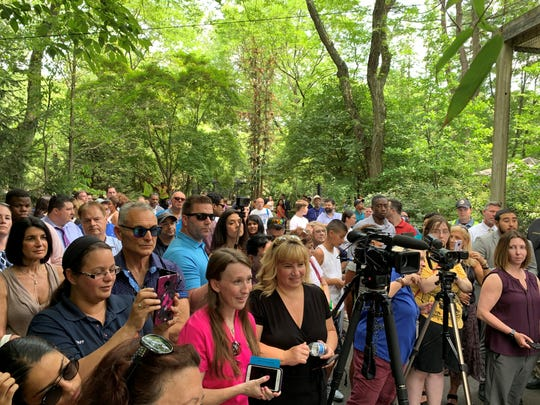 Crowd at the Bergen County Zoo as radio personality Danielle Monaro was announced as the county's first ambassador by Executive James Tedesco.