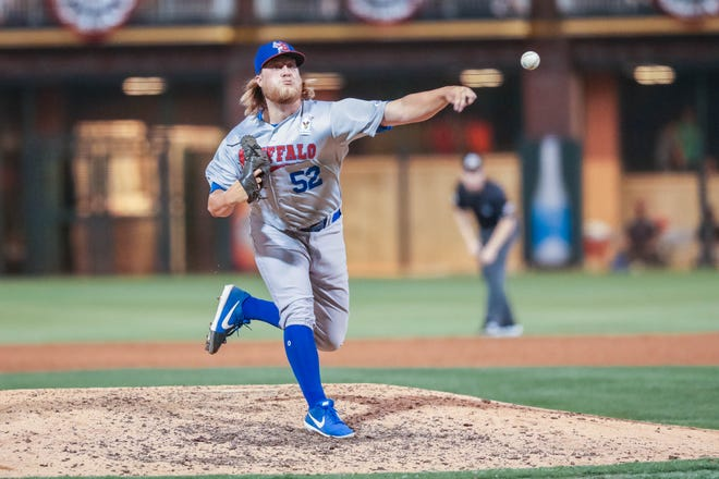Kirby Snead (52) with the Buffalo Bisons playing for the International League pitches at the 2019 Triple-A All-Star game at Southwest University Park in El Paso on Wednesday, July 10, 2019.