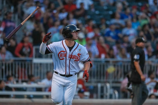 Ty France (12) with the El Paso Chihuahuas playing for the Pacific Coast League hits a home run at the 2019 Triple-A All-Star game at Southwest University Park in El Paso on Wednesday, July 10, 2019.