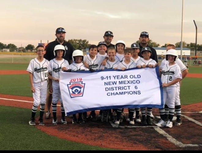 Shorthorn 11 celebrates its district championship victory. Shorthorn heads to Clovis on Saturday to face Artesia LL in the opening round of the state tournament.