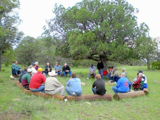 Participants gather at the Nogal Mesa Ranchman's Camp.