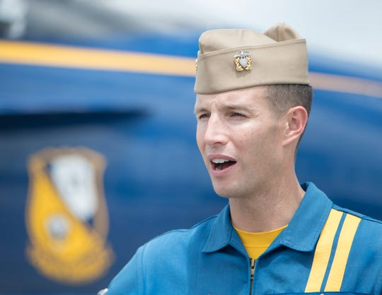Lead solo pilot Lt. Cmdr. Brandon Hempler talks Thursday about his experience with the Blue Angels at Naval Air Station Pensacola.
