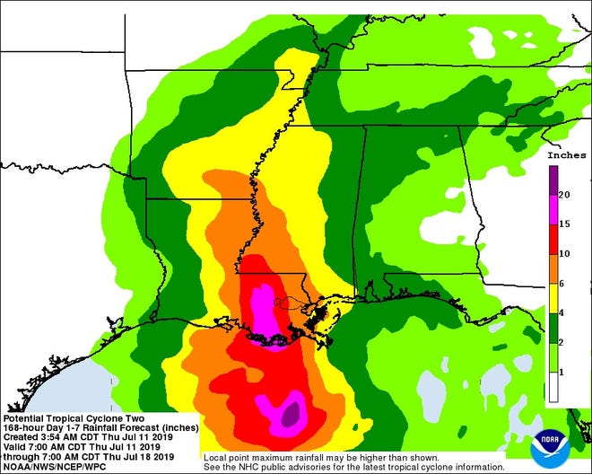 A graphic from the National Weather Service shows potential rainfall for the next seven days as a Potential Tropical Cyclone Two moves toward Louisiana on Thursday.