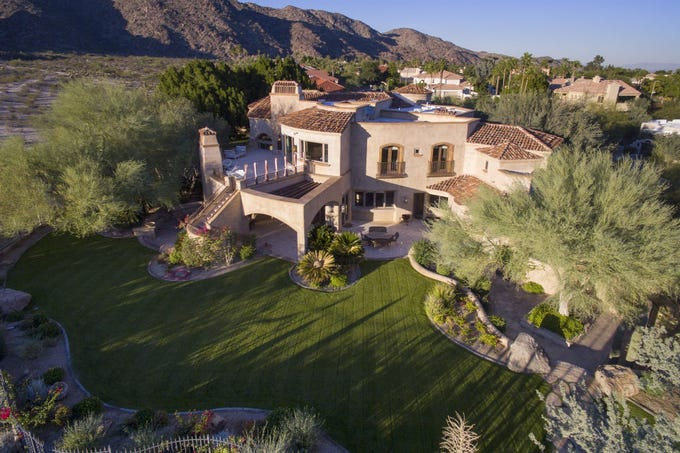 An exterior view of the backyard at an Ahwatukee mansion in Phoenix.