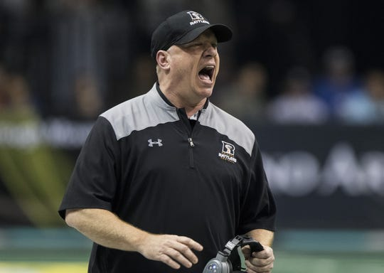 Arizona Rattlers head coach Kevin Guy shouts at this team against the San Diego Strike Force at Talking Stick Resort Arena in Phoenix, Saturday, June 15, 2019.
