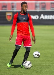 Junior Flemmings of Phoenix Rising FC practices with the team at their Scottsdale field, Tuesday, July 9, 2019.