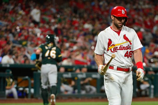 Cardinals first baseman Paul Goldschmidt (46) walks off the field after striking out to end the eighth inning of a game against the Athletics at Busch Stadium.