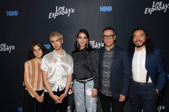 "The ""Los Espookys"" team attends a screening of the series on June 10, 2019, in New York. Ana Fabrega (from left), Julio Torres, Cassandra Ciangherotti, Fred Armisen and Bernardo Velasco pose for the camera."