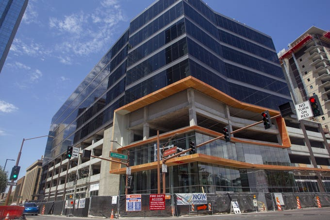 Block 23, a high-rise development, will feature a Fry's grocery store on First Street in downtown Phoenix, pictured here on July 10, 2019. The grocery store is set to open at the end of 2019.