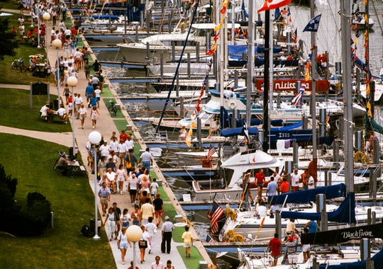 Boats fill the marinas in Port Huron before a past Port Huron-to-Mackinac Sailboat Race.