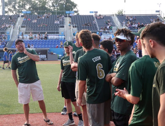 FDR Baseball's coach Kory VanZandt gives instructions to his players during Champions Night at Dutchess Stadium in Fishkill on July 10, 2019.