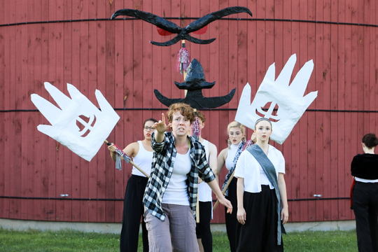 Roz Sullivan-Lovett and the cast of Hamlet, adapted and directed by Emily Mendelsohn.
