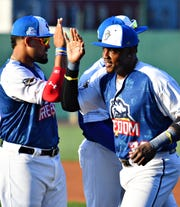 Telvin Nash of the York Revolution, seen here at Wednesday's Atlantic League All-Star Game, is not a big fan of the some rule changes that will be in use during the second half of the Atlantic League season.