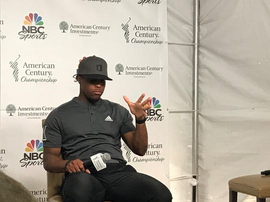 Kyle Lowry reponds at a news conference Thursday at Edgewood Tahoe