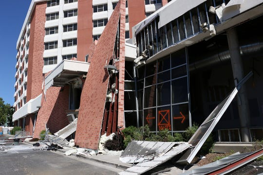 Damage to the front of Argentina Hall at the University of Nevada, Reno is seen during a media tour on July 11, 2019.