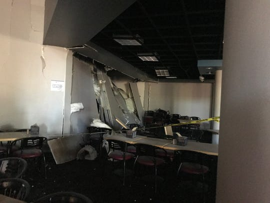 Media tour Argenta Hall and the Downunder Cafè on July 11. The dorm was damaged by a natural gas explosion on July 5.