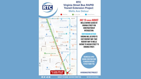 A look at alternate route options during the closure of Wells and South Virginia intersection as part of Virginia Street Project.