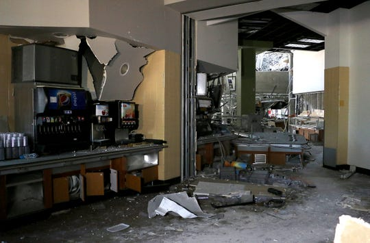 Damage to the Downunder Cafe inside Argentina Hall at the University of Nevada, Reno is seen during a media tour on July 11, 2019.