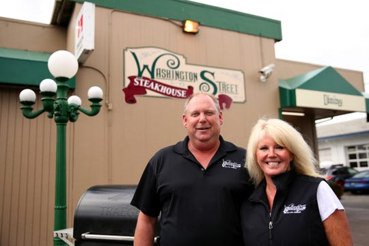 Glen and Debi Conway, the owners of the Washington Street Steakhouse & Pub in Dallas on July 10, 2019. The restaurant will hold a 20th anniversary celebration on July 20.