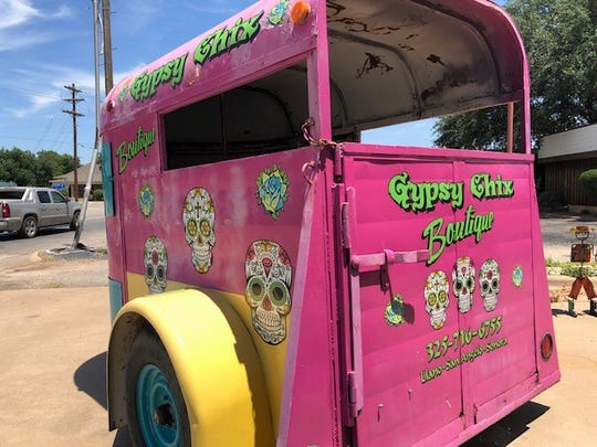 This customized trailer is set up in front of Gypsy Chix Boutique's San Angelo location.
