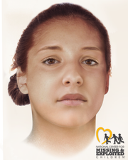 Image put together by the National Center for Missing & Exploited Children showing what Jane Doe looked like during her life.