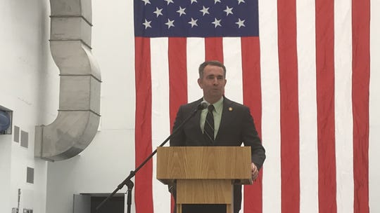 Gov. Ralph Northam speaks during a ceremony on Wallops Island, Virginia on Thursday, July 11, 2019. Officials dedicated a new payload processing facility on the island.