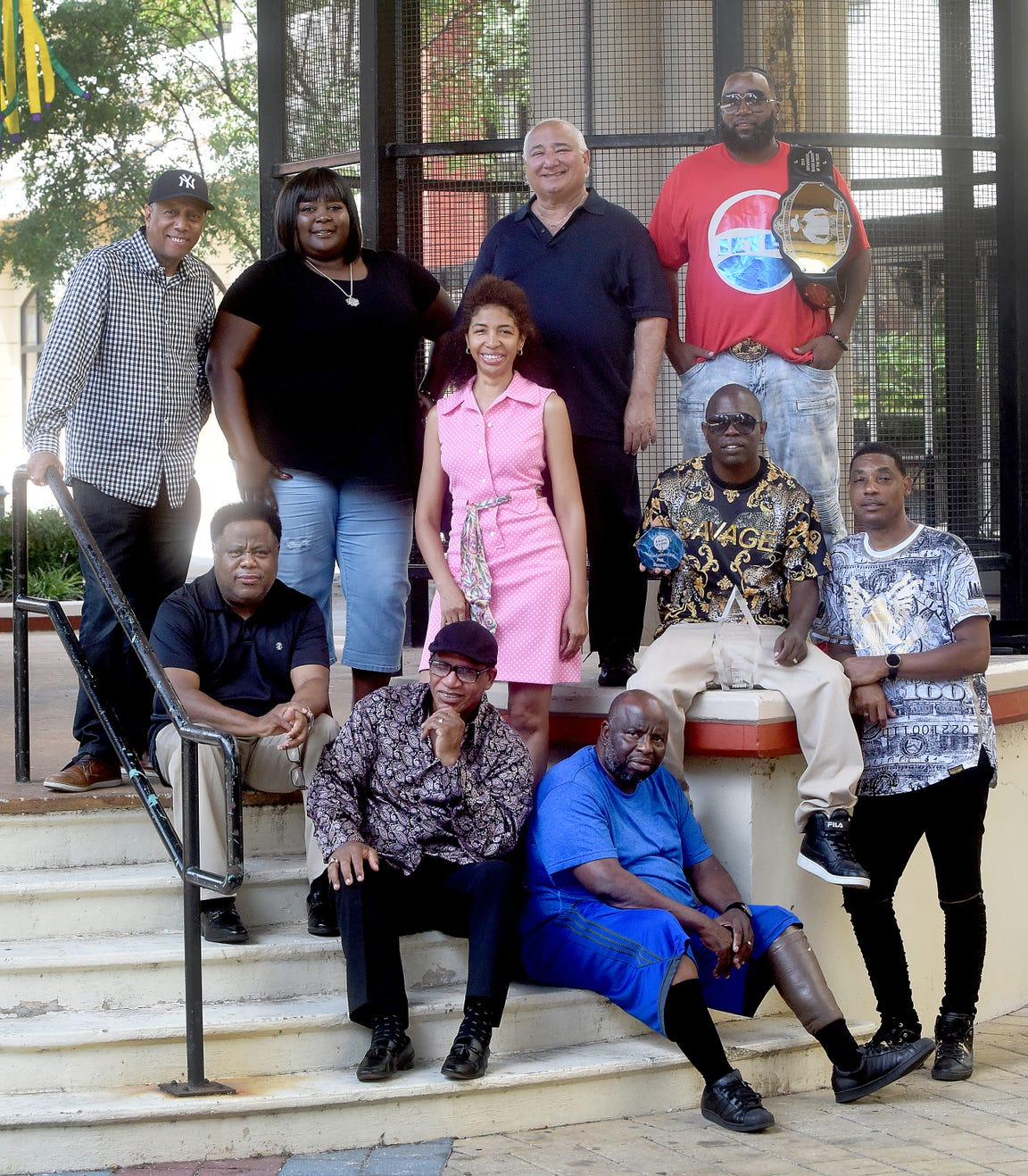 "Shreveport Southern Soul musicians and producers. Clockwise from top left: Quenn Echols, Crystal Thomas, Tanji Jefferson, Lenny Lewis, Jeter Jones, P2K Dadiddy, Ronald Slack Jefferson, Marvin ""Jabber Jaws"" Williams, Ron Johnson and Garland Jones pose for the photo in Shreveport's Red River District on Thursday, July 11, 2019."
