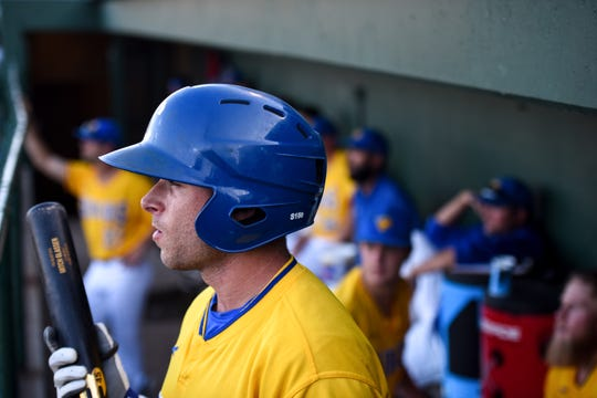Infielder Mitch Glasser prepares to bat during the game against the Texas Air Hogs at the Birdcage on Wednesday, July 10. Glasser led Team Israel to an undefeated record in their European qualifying tournament in Bulgaria.