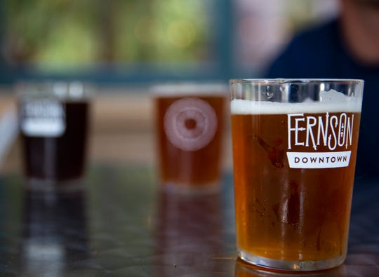 People enjoy beer on the Fernson Downtown patio on Wednesday, July 10. Fernson Downtown has been open since April 2019 and has 14 beers on tap as well as a wine and cider menu.