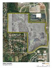 The land enclosed in the yellow outline is a planned $500 million development called The Ridge at Ward Branch.