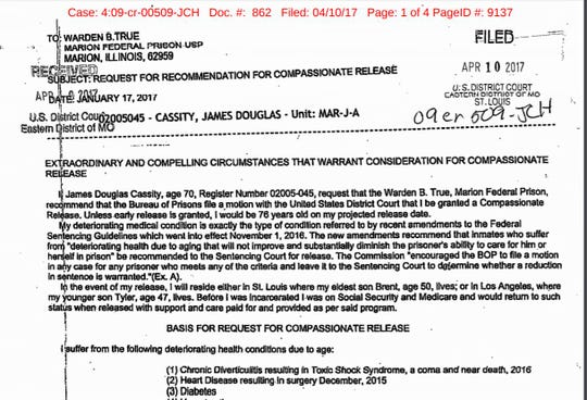 A portion of the request for an early release that J. Douglas Cassity filed with the federal Bureau of Prisons in 2017. He is eligible for release in May 2021, according to BOP records accessed July 11, 2019.
