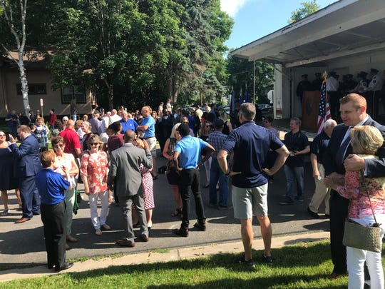 People gathered for an event Thursday morning celebrating the St. Cloud Police Department Community Outpost. The U.S. Department of Justice presented the outpost and its partners with the L. Anthony Sutin Civic Imagination Award.