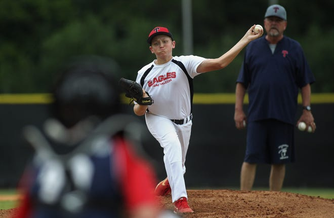 Garrett Workman pitches as Tallahassee-Leon Babe Ruth's 13U all-star team practices at TCC prior to this week's state tournament.
