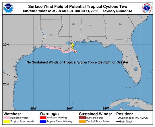 Potential Tropical Cyclone Two 8 a.m. July 11, 2019
