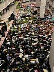 A pair of earthquakes on July 4 and 5 sent merchandise tumbling to the floor of the Navy Exchange store at Naval Air Weapons Station China Lake. After the quakes, non-essential personnel at the base were sent to Naval Base Ventura County.