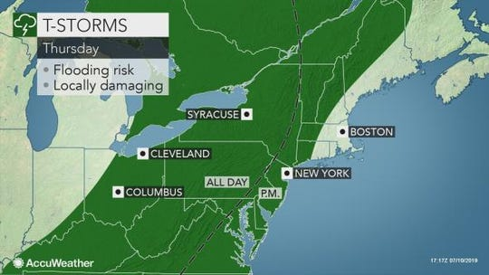 Storms are expected to hit the Lower Hudson Valley on Thursday evening.