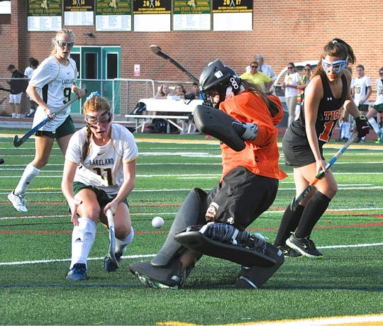 Samantha Maresca makes save for Mamaroneck as Lakeland's Julianna Cappello tries to get rebound. Photo from Oct 7, 2017.