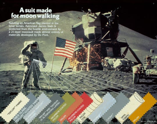 A 1971 print advertisement produced by DuPont promoting how 20 of the 21 suit layers were made from materials they developed.
