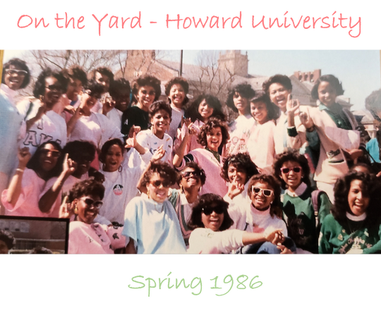 Kamala Harris and her sorority line sisters pose on the campus of Howard University back in the 1980s. Harris has a fierce following among those colleges friends, but some political pundits question whether she has the full support of the African-American community given her years as a prosecutor.