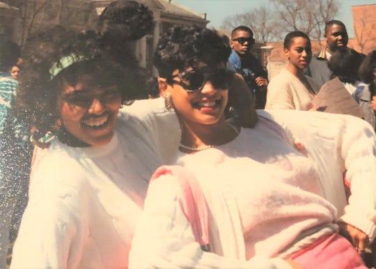 Kamala Harris poses with her line sister Darla Dash Washington at Howard University.