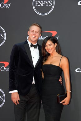 Jared Goff, Los Angeles Rams player, and Christen Harper.