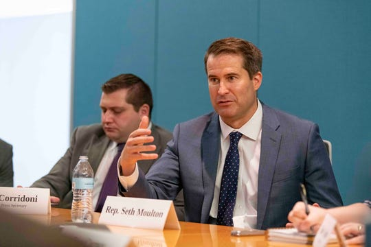Rep. Seth Moulton, D-Mass., speaks to the USA TODAY Editorial Board on July 10, 2019, about his candidacy for the Democratic nomination for president.