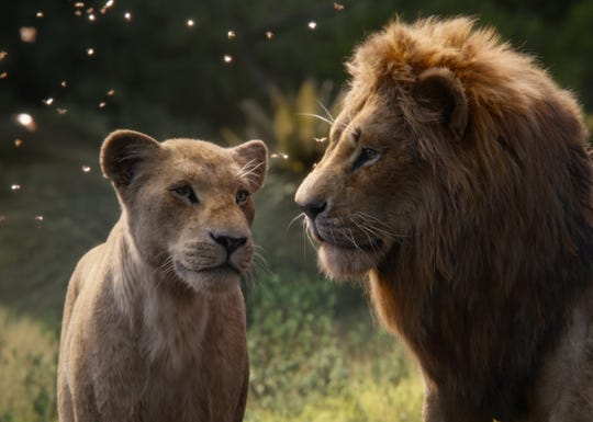 "Sparks fly when Nala (voiced by Beyoncé, left)  reunites with childhood bestie Simba (Donald Glover) in ""The Lion King."""